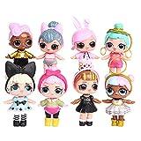 LOL Surprise Girl Doll Cake Topper Pastel Decoración Suministros 8Pcs Surprise Doll Figures Muñeca Hecha a Mano Muñeca Decoración para niños Set