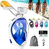 HINATAA Máscara de Buceo, 180°Panorámica Máscara de Snorkel de Cara, Anti-vaho Anti-Fuga,con Tapones con Tapones para los oídos Impermeables,GoPro Mount Easy Breathe para Adultos,Niños (Azul, S/M)