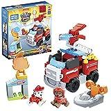 Mega Bloks Patrulla Canina Extinción de incendios de Marshall Bloques de construcción con personajes, juguete para niños +1 año, Mattel GYJ01