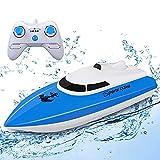 STOTOY Barco Teledirigido, Barco de con Control Remoto para Piscinas y Lagos, Mini Lancha Eléctrica de 2.4G HZ para Niños y Adultos, Barco Teledirigido al Aire Libre