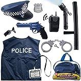 Born Toys Disfraz De Policía De 12 Piezas para Niños con Kit De Juego De rol De Juguete con Placa De Policía, Esposas, Linterna para Niños para Disfraz De Policía