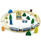 jerryvon Juguete de Madera Tren de Madera Circuito Coches Pista Construcciones con Tren Eléctrico Educativo Regalo para Niños 3 4 5 6 Años (ELECTRICO)