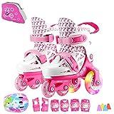 Sumeber - Patines en línea de tamaño ajustable para niños, 3 colores a elegir, color rosa/blanco, tamaño EU 27-30 UK 9.5-1.5 kids