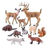 TUPARKA 10 Piezas de Figuras de Animales del Bosque, Figuras de Criaturas del Bosque en Miniatura Figuras de la Torta del Bosque para la Fiesta de cumpleaños, Baby Shower, Fiesta de Navidad