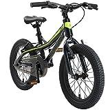 BIKESTAR Bicicleta Infantil Aluminio para niños y niñas a Partir de 4 años | Bici 16 Pulgadas con Freno en V | 16' Bici de montaña | Negro Verde