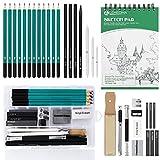 Lapices De Dibujo Artístico Set de Lápices Profesional del Artista Set Incluye Grafito,Carboncillos,Bloc,Caja Portátil para Artista Principiante Estudiante Niños y Adultos (33 piezas)