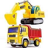 HERSITY Camiones de Juguetes Vehículos de Construcción Excavadora Coches Volquete con Luces y Sonidos Regalos para Niños 3 4 5 Años