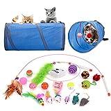 Legendog Juguetes para Gatos, Juguete Interactivo para Gatos con Plumas para Kitty, Tunel para Gatos (New-20Pcs)