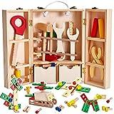 Buyger Maletin Caja Herramientas Juguetes Madera Bricolaje Construccion Kit Destornillador Accesorios Juegos de Imitación Regalos para Niños Niñas 5 6 7 8 Años