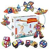 Fansteck Bloques Magneticos, 72 Piezas Juegos de Construcción, Juguetes Construcciones Magneticas 2D 3D, Imanes, Regalo Educativo Creativo de Cumpleaños para niños 2 3 4 5 6 7 8 años