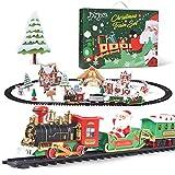 Joyjoz Trenes Navidad Set 29 PCS, Tren Arbol de Navidad con Sonido Realista, Humo y Luces, Trenes de Juguete Debajo del árbol