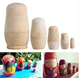 chengyida 5pcs/set bricolaje sin pintar en blanco de madera embriones ruso Nesting Dolls Matryoshka juguete 5tamaños
