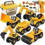 Dreamon Vehículo de Construcciones Juguete, Ensamblarde Excavadora Tractor con Taladro-Eléctrico Juguetes Educativos Regalos para Niños Grils 4 5 6 Años