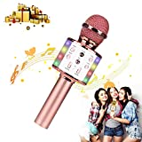 Micrófono Karaoke, Giuseppe Microfono Inalámbrico Karaoke Portátil con Luces LED, Bluetooth Altavoz, para Niños Canta Partido Musica, Regalos para Niña de 3-12 Años/Adultos