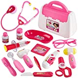 Buyger Maletin Medicos Juguete Enfermera Doctora Infantil Kit Luces y Sonidos Imitación Juegos de rol para Niña Niños 3+ Años (Rosa)
