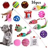 Dorakitten Juguetes para Gatos, 16 Piezas Juguete Interactivo con Plumas para Gatos Ratóns y Bolas Varias para Gatos para Gatos con Plumas para Kitty