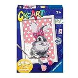 Ravensburger CreArt Conejito, Kit de Pintura, Pintar por Números, Juego Creativo para Niños y Niñas, Edad Recomendada 7+