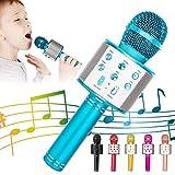 KIDWILL Micrófono Inalámbrico Bluetooth Karaoke, 5-en-1 Portátil Radio FM Karaoke Mic Altavoz Reproductor Grabador para Niños Adultos Cumpleaños Fiesta KTV Compatible con iPhone Android iPad PC(Azul)