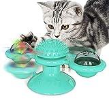 Yuning Juguete para Gatos, Juguete Gato Giratorio, Windmill Cat Toy, Juguetes para Gatos con Catnip y Bola Intermitente LED Plato Giratorio Burlas Juguete Interactivo, Azul