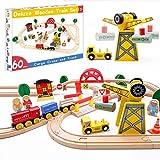 Juego de trenes de juguete de 60 piezas - Grúa y vías de madera y trenes exclusivos - Se adapta a Thomas, Brio, Chuggington, Melissa y Doug - Juguetes para niños para niñas y niños de más de 3 años