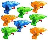 KINPARTY ® 8 x Pistolas de Agua Transparente, Cumpleaños, Fiestas en la Piscina Aire Libre