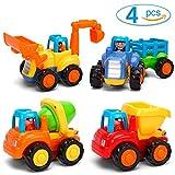 GoStock Vehículos de Construcción Coche de Juguete Coche de Friccion Camion de Juguete Coche de Juguete de Plástico Regalo de los Niños(Tractor, Niveladora, Camión del Mezclador, Camiones)