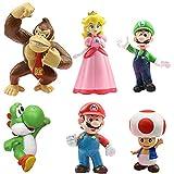 WENTS Super Mario Figures 6pcs / Set Super Mario Toys Figuras de Mario y Luigi Figuras de acción de Yoshi y Mario Bros Figuras de Juguete de PVC de Mario