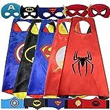 YESFINE Capa de Superhéroe para Niños - 5 Capas y 5 Máscaras y 5 Pulseras - Ideas Kit de Valor de Cosplay de Diseño de Fiesta de Cumpleaños de Navidad - Juguetes para Niños y Niñas