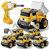 GizmoVine Tractor Juguete,Control Remoto Excavadora Desmontar y Ensamblarde Vehículo de Construcciones Juguete , 6 en 1 Juguetes Playa niños para Niño y Niña de 3 Años