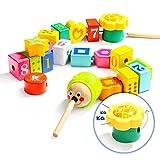 TOP BRIGHT Abalorios de madera y cuerda para niños, juguetes para hilos para niños de 2 a 3 años, habilidades motoras finas Montessori juguetes para niños de 2 años de edad preescolar