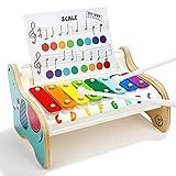 TOP BRIGHT Xilófono Infantil de Madera para Niños Pequeños - Instrumentos Musicales Infantiles – Juguete Bebes 1 año - 3 Canciones Diferentes - Teclas de Colores del Arco Iris - Educativo y Divertido