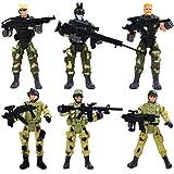 TOYANDONA 6 Piezas de Figuras de Acción de Fuerzas Especiales, Figuras de Acción de Soldados Soldados de Juguete Militares Playset con Accesorios (Un Patrón)