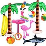 Evance 14 Piezas Inflables Palmeras Flamingo Juguetes Inflables Banana Bolas de Playa Volando Loro Tiburón Juguete Flamenco con Anillos para la Decoración del Partido Playa (14 PCS)
