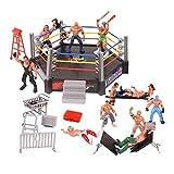 YIJIAOYUN Wrestling Figuren, Wrestling-Spielset enthält 1 Ring, 12 Miniatur-Action-Wrestling-Spieler und mehrere realistische Accessoires für Kinder