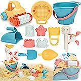 Sanlebi Juguetes Playa Niños con Cubo, Palas y Bolsa de Malla Reutilizable, Juguetes Arena Juegos de Playa para Bebe 2 3 Años