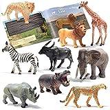 PREXTEX Las Figuras realistas Looking Safari Animales - 9 Grandes Figuras de plástico con Animales de la Selva Libro Grande