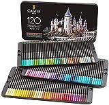 Castle Art Supplies Juego de 120 lápices de colores para adultos, artistas profesionales, con núcleo suave para capas expertas, mezclando sombreado, perfecto para colorear libros y aulas.