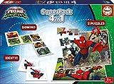 Educa - Superpack juegos Spiderman vs Sinister 6, contiene 2 puzzles, 1 juego de memoria y 1 domino, a partir de 3 años (17197)