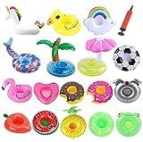 ASYBHYY 18 Pcs Posavasos Hinchable de Flotador Unicornio & Flamingo con Bomba Colchonetas y Flotante Juguetes de Piscina Ocio Agua Diversión Juguetes Niños Adultos