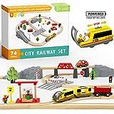 Juego de trenes de juguete con tren a pilas y rieles de madera -74Pcs- Se adapta a Thomas, Brio, Chuggington y otras marcas importantes- Juguetes para niños para niños y niñas de más de 3 años
