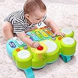 Juguete Musical del Bebé Ohuhu. Mesa multifunción para niños, con juegos de tambor, teclado de piano para descubrir y tocar o xilófono. Juguetes de aprendizaje para bebé. Regalos de Navidad
