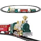 deAO Tren Clásico Infantil con Luces y Sonidos Conjunto Navideño de Vías, Locomotora y 2 Vagones Tren de Juguete Electrónico Decoración de Navidad (Rojo o Verde)
