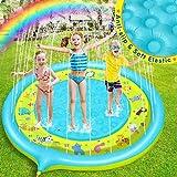 Dookey Splash Pad, Tapete Acuático, Jardín de Verano Juguete para Niños de 170 cm, Piscina de Juego de Verano para Niños y Mascotas en Jardín (Azul - Amarrillo)