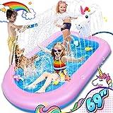 LETOMY Splash Pad, Piscina Hinchable con Rociadores, Tapete Acuático, Juguete para Niños con Tema de Unicorio, Piscina de Juego de Verano para Niños y Mascotas en Jardín