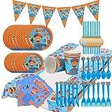 92pcs Blippi Party Supplies Juego de decoración Happy Birthday Party Vajilla Paquetes Incluye Flatwares, tazas, manteles, servilletas, globos, pancartas, horquillas para 10 niños