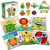 lenbest 6 Piezas Puzzles de Madera de Animales, Puzzles Infantiles, Rompecabezas de Animales para Niños Niñas, Juguetes Montessori Educativos para Bebé de 1,2,3 años