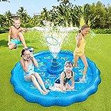 Alfombrilla de juego para niños,Petricor Piscina de rociadores de 66,93 pulgadas para niños pequeños, juguetes acuáticos de verano para jardín al aire libre de verano con juego de lanzamiento
