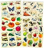 Juguetes Niños 1 2 3 Años - 6 Montessori Juegos Infantiles Puzzles de Madera - Regalo Bebe Animales Educativos para Niñas y Niños 4 5