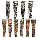 Naler 10 Mangas de Tatuajes Mangas Tatuajes Falsos Decorados Mangas Tatuajes Temporales para Brazo para Hombres y Mujeres para Fiesta de Disfraces