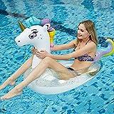 JCT Unicornio Flotador Hinchable Hamaca para Piscina Inflable Unicornio Anillo de Natación Flotador de Piscina Inflable Juguetes para la Piscina de Aire Adultos Niños (Blanco, Unicornio)